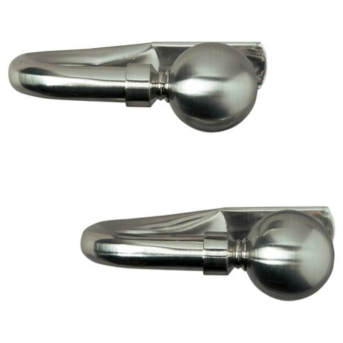 Pair of Metal Tiebacks, Satin Steel-Effect