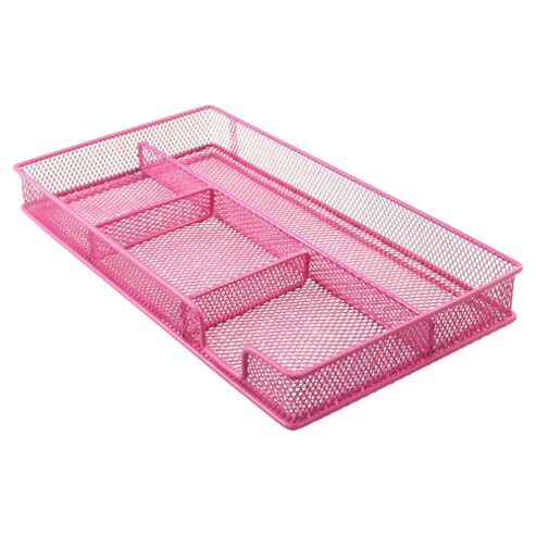 Metal, mesh drawer organiser. Pink