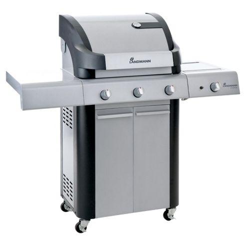 Landmann Cronos 3 Burner Gas BBQ + Side Burner & Cabinet - Silver 12775