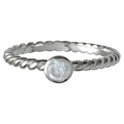 Sterling Silver Textured Stone Stacking Ring, Medium