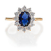 Gold Plated Silver Synthetic Sapphire & CZ Ring, J