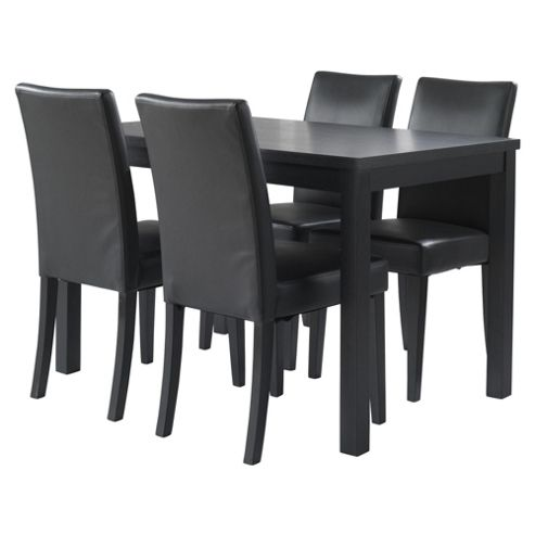 Banbury 4 Seat Dining Table Set, Black