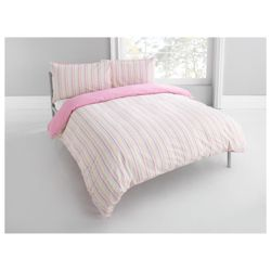 Tesco Seersucker Stripe Duvet Set – Pastel, Double