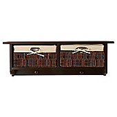 Coat Hanger With Wicker Baskets Dark Wood