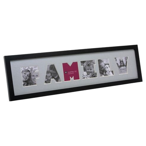Present Time Photo Frame Family Letter wood Black