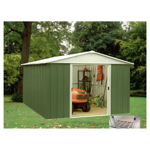 Yardmaster Apex Metal Shed with floor support frame, 10x13ft