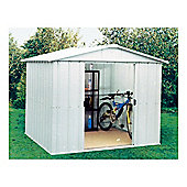 Yardmaster 7'5x9'4 Silver Metal Apex Shed with floor support frame