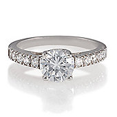 Platinum Plated Silver Solitaire Ring, P