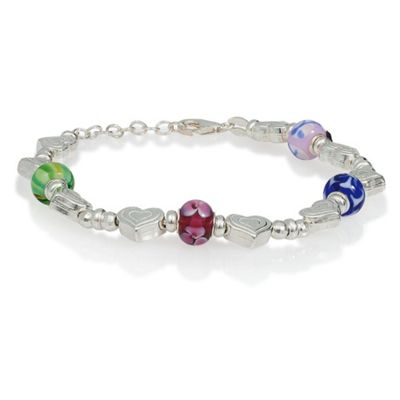 Sterling Silver Heart and Multi Bead Bracelet