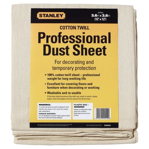 Stanley Cotton Twill Dust Sheet 12x12