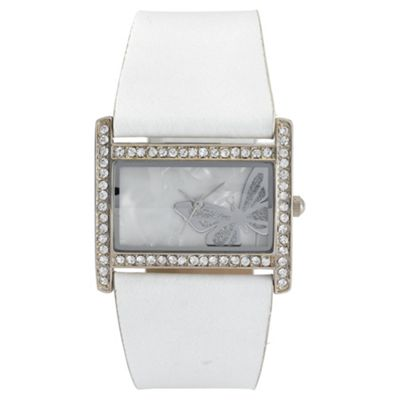 Diamante Rectangular White Strap Ladies