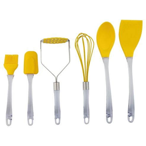 Tesco Brights 6 piece Silicone Utensils Set, Yellow