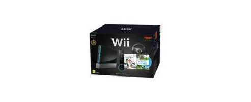 Nintendo Wii Black Limited Edition with Wii Sports, Mario Kart, Black Wii Wheel & Motion Plus Controller