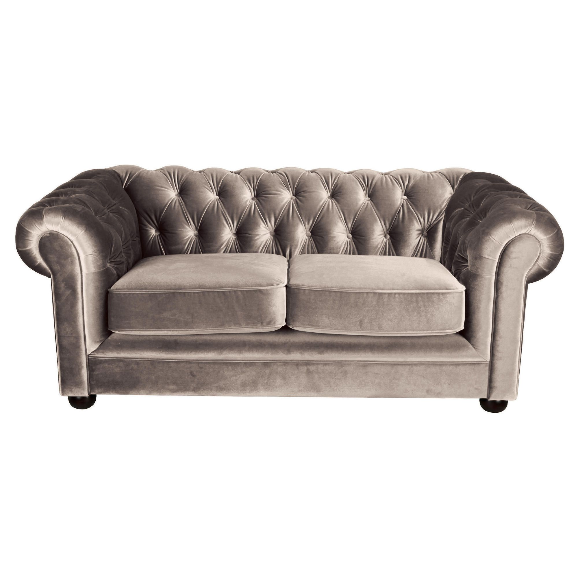 Chesterfield Velvet Small Sofa, Mink at Tescos Direct