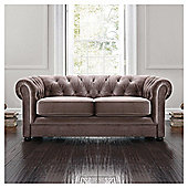 Chesterfield Velvet Effect Small Sofa, Mink