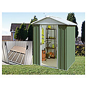 Yardmaster 7'5x6'9 Apex Metal Shed with floor support frame