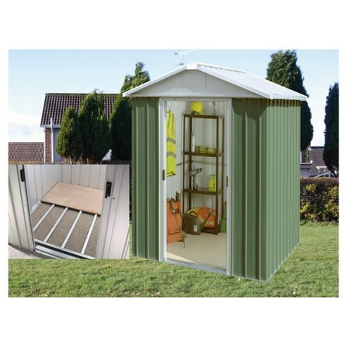 Buy yardmaster apex metal shed with floor support frame for Garden shed tesco