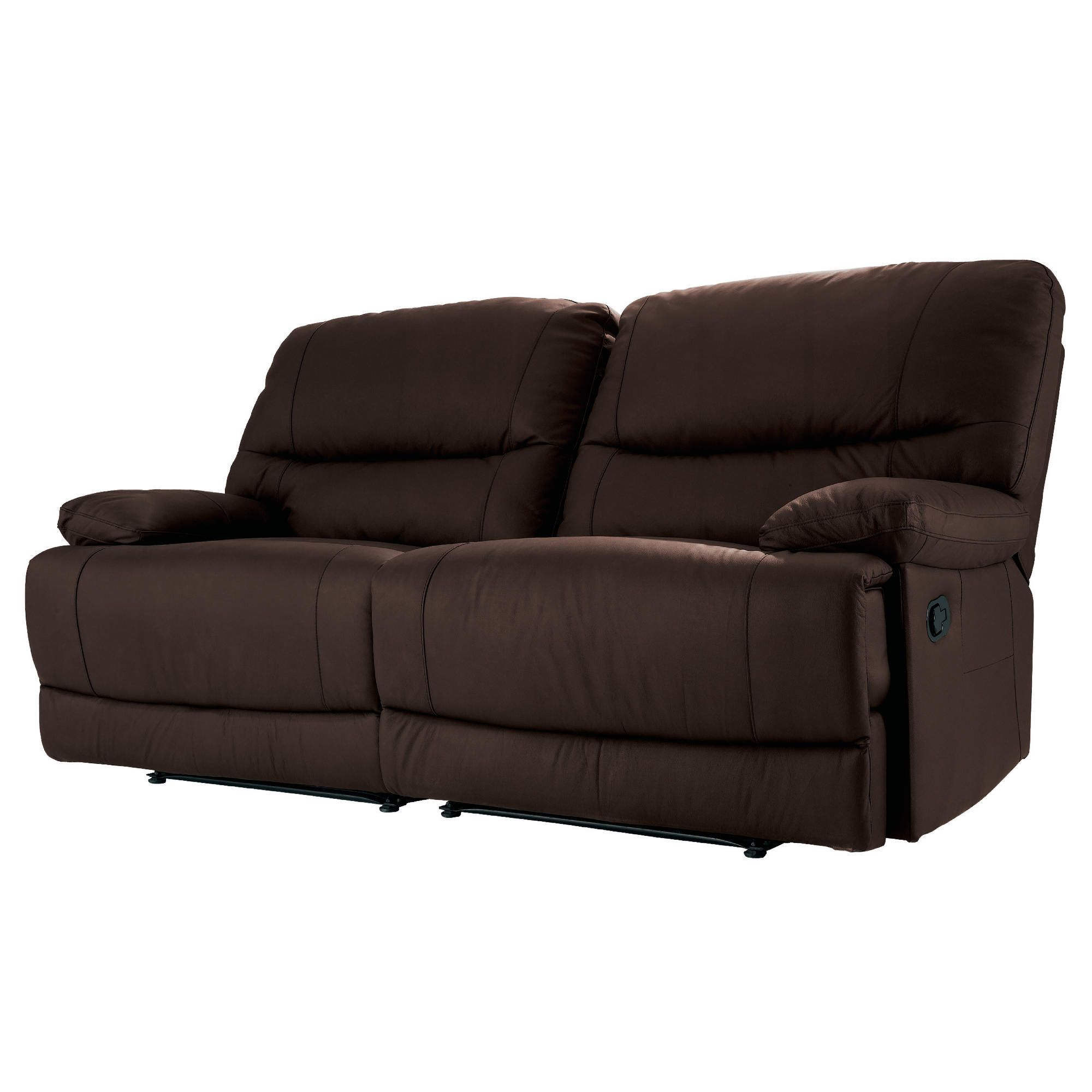 Angelo Leather Large Double Recliner Sofa, Chocolate at Tesco Direct