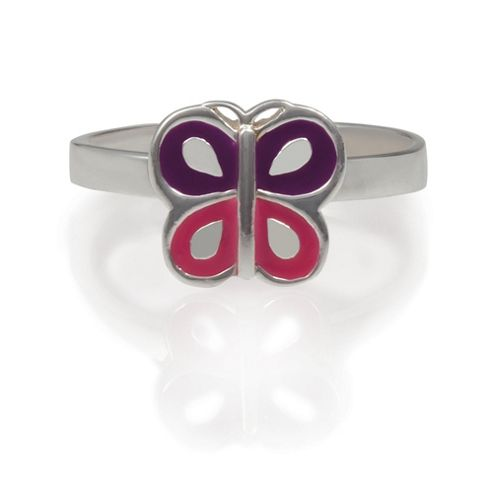 Girls Sterling Silver Enamel Butterfly Ring