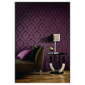 Arthouse Da Vinci Damask Plum Wallpaper