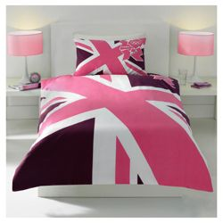 Union Jack Pink Single Quilt Set
