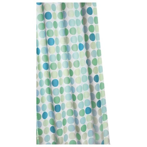 Croydex Anti-Bac Textile Shower Curtain Green Polka