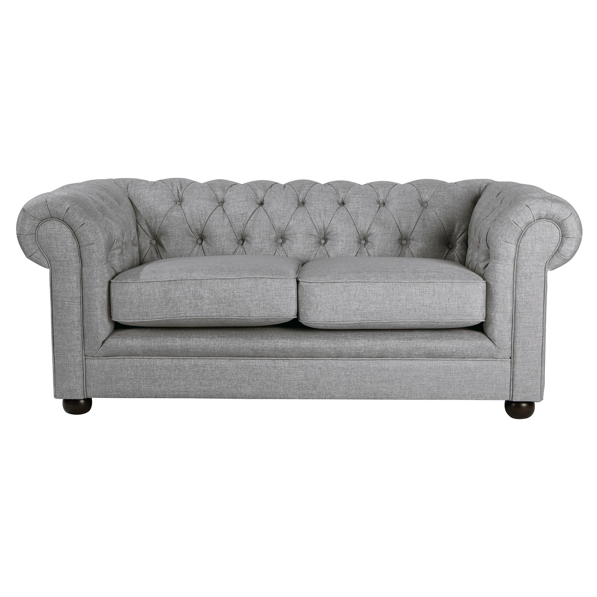Chesterfield Linen Small Sofa, Silver at Tescos Direct