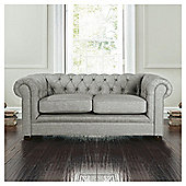 Chesterfield Linen Small Sofa, Silver