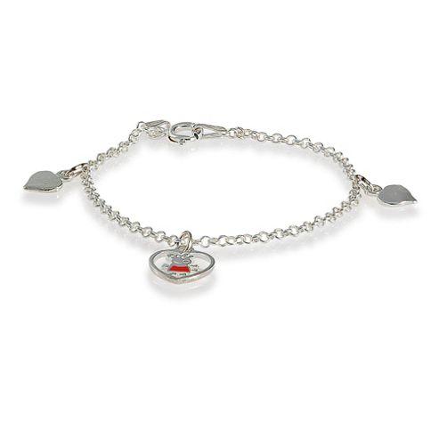 Peppa Pig Sterling Silver Heart Charm Bracelet