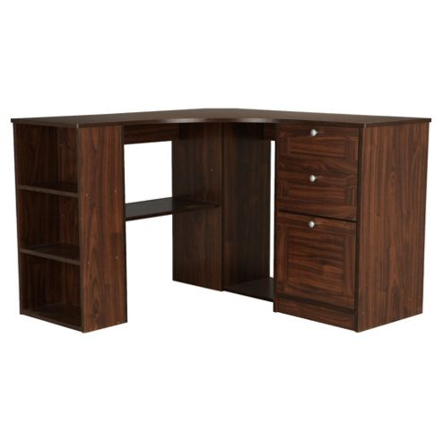 Fraser Corner Desk With Storage, Walnut Effect