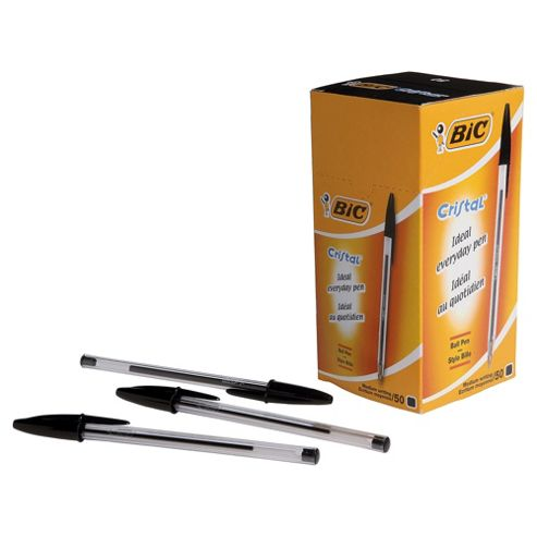 Bic Cristal Clear Barrel Ballpoint Pen, Black, 50 Pack