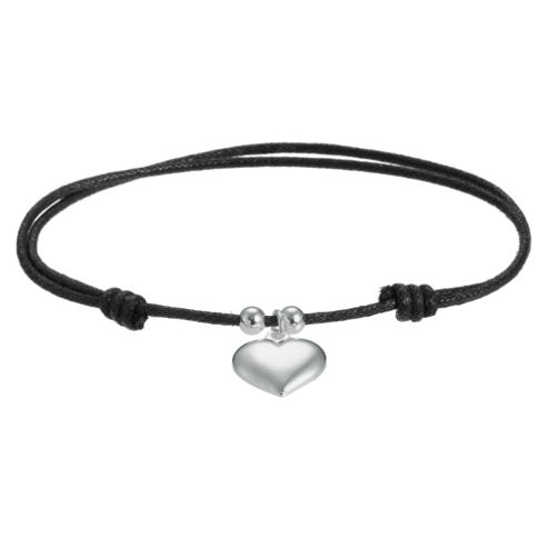 Black Friendship Bracelet with Heart Charm