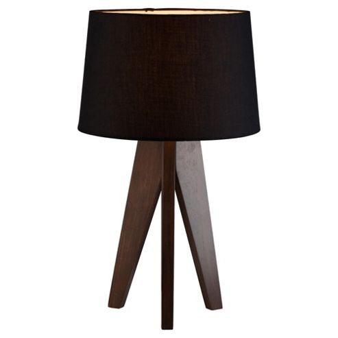 Tesco Lighting Tripod wooden table lamp Dark Wood Black Shade
