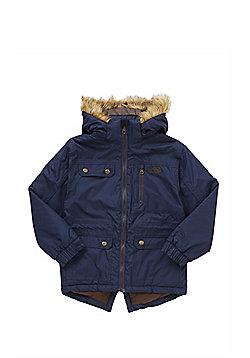 Trespass Marsden Faux Fur Hood Parka - Navy blue
