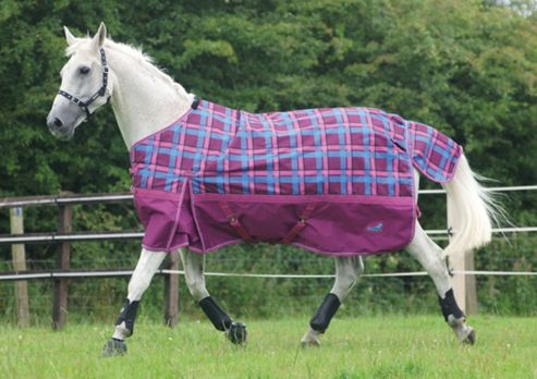 Masta Zing lightweight Turnout Check Dark Cherry 5ft 9in