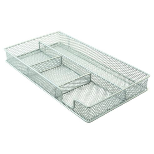 Metal, mesh drawer organiser. Silver