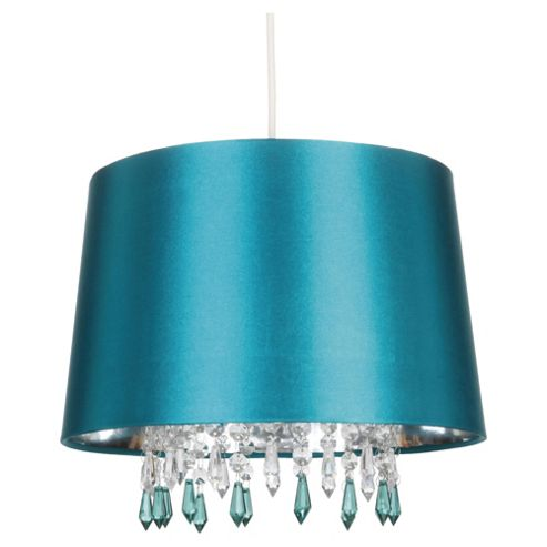 Tesco Lighting Arabella Satin shade metallic Liner and Drops Teal