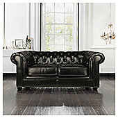 Chesterfield Small Leather Sofa, Black