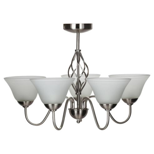 Signa Twisted satin Nickel 5 Light Ceiling Fitting