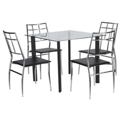 Conrad 4 Seat Set, Black & Chrome