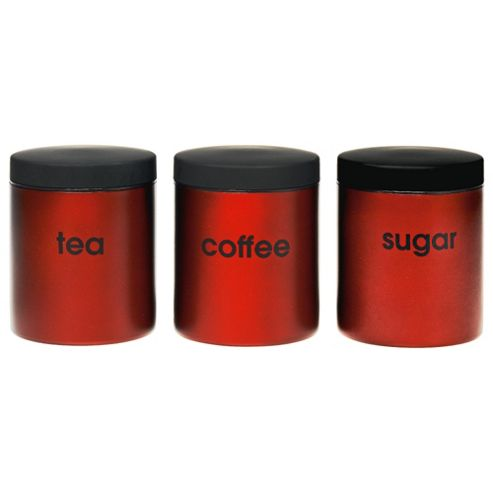 Go Cook Tea, Coffee And Sugar Canister Set with Soft Touch Lids, Red