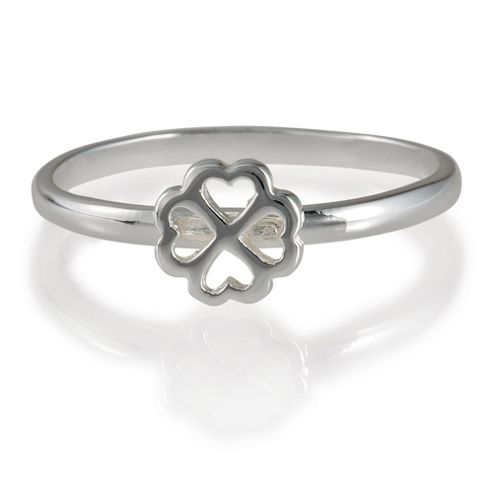 Sterling Silver 4 Leaf Clover Stacking Ring, Large