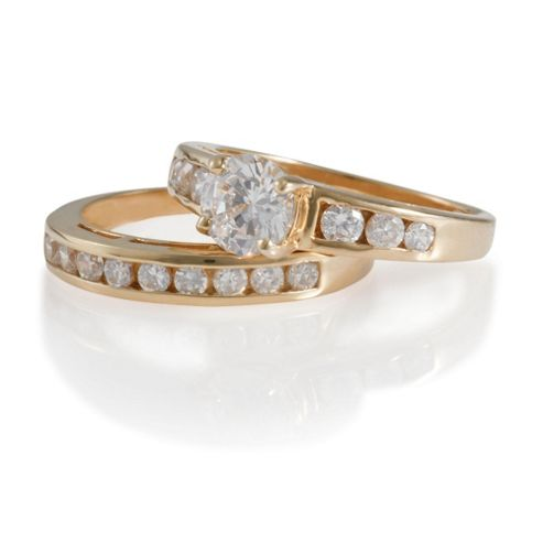 Gold Plated Silver CZ Bridal Set, N