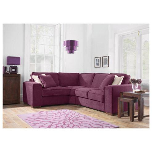 Omega Fabric Corner Sofa, Aubergine Left Hand Facing