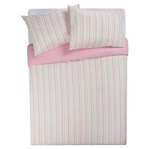 Tesco Seersucker Stripe Duvet Cover Set Pastel, Single