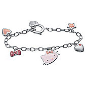Sterling Silver Hello Kitty Enamel T-Bar Bracelet