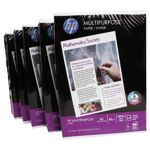 HP Multi-purpose White A4 80gsm Paper, 5 pack/2500 Sheets