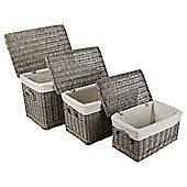 Wicker Baskets Set Of 3 Lidded Grey Wash