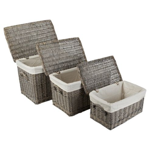 Wicker Baskets Set Of 3 Lidded Grey Wash