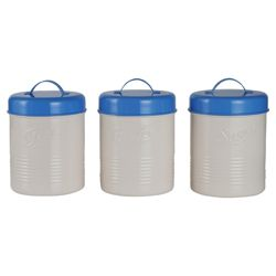 Tesco Enamel Tea, Coffee and Sugar Canister Set, Cream and Blue
